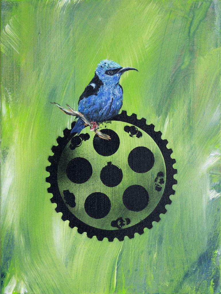 Blauer Vogel Auf Zahnrad 1 – 40 x 30 cm – Oil on canvas – 2018