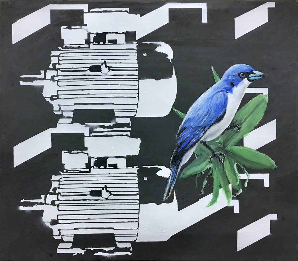 Blu Bird – 35 x 40 cm – Oil, acrylic on canvas – 2018