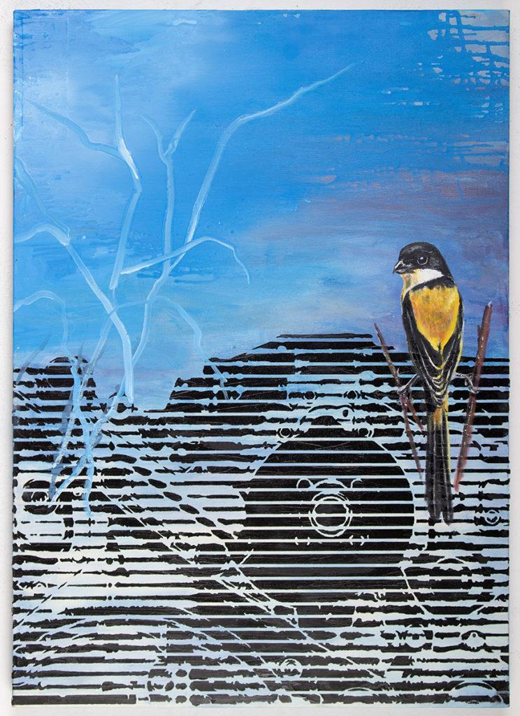 Gelber Vogel Auf Motor 1 – 70 x 50 cm – Oil on canvas – 2019