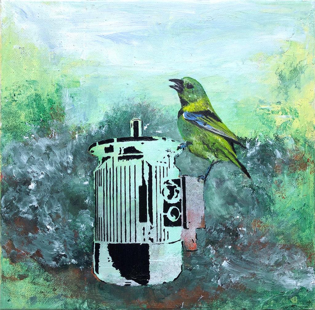 Grüner Vogel Auf Motor – 40 x 30 cm – Oil,acrylic on canvas – 2018