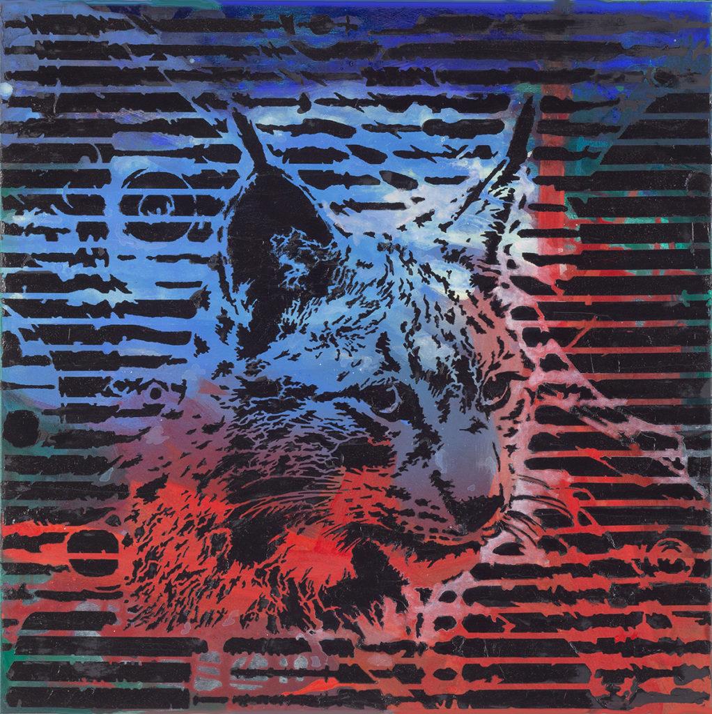 Luchs – 70 x 70 cm – Oil, acrylic on canvas – 2020