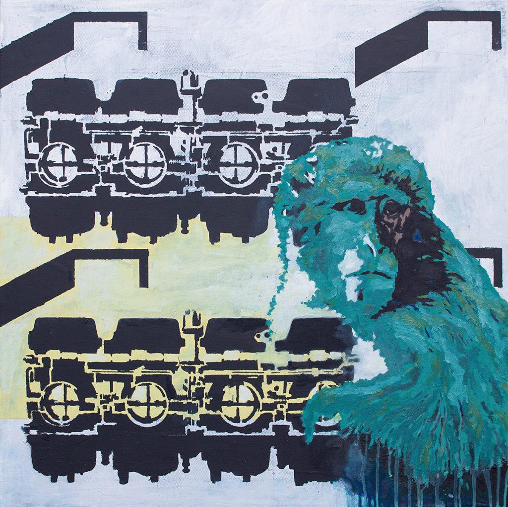 Monkey – 70 x 70 cm – Oil, paint, acrylic on canvas – 2018