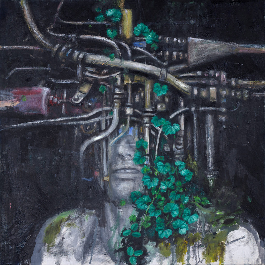Portrait With Tubes (Worker) 1 – 60 x 50 cm – Oil on canvas – 2019