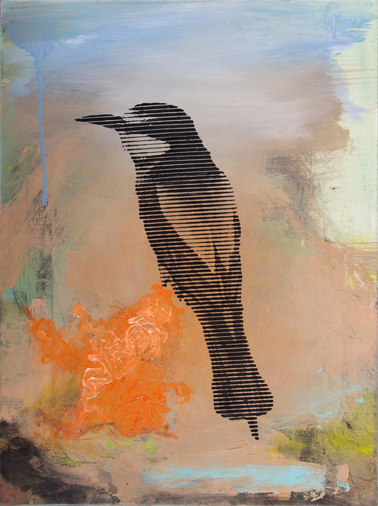 Schwarzer Vogel Auf Orange – 40 x 30 cm – Oil, acrylic on canvas – 2018