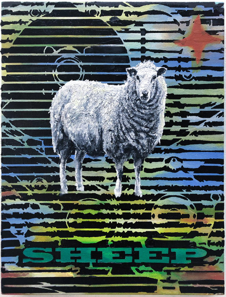 Sheep – 40 x 30 cm – Oil, acrylic on canvas – 2019