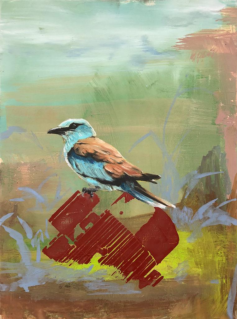 Bird On Motor -40 x 30 cm – Oil on canvas – 2018
