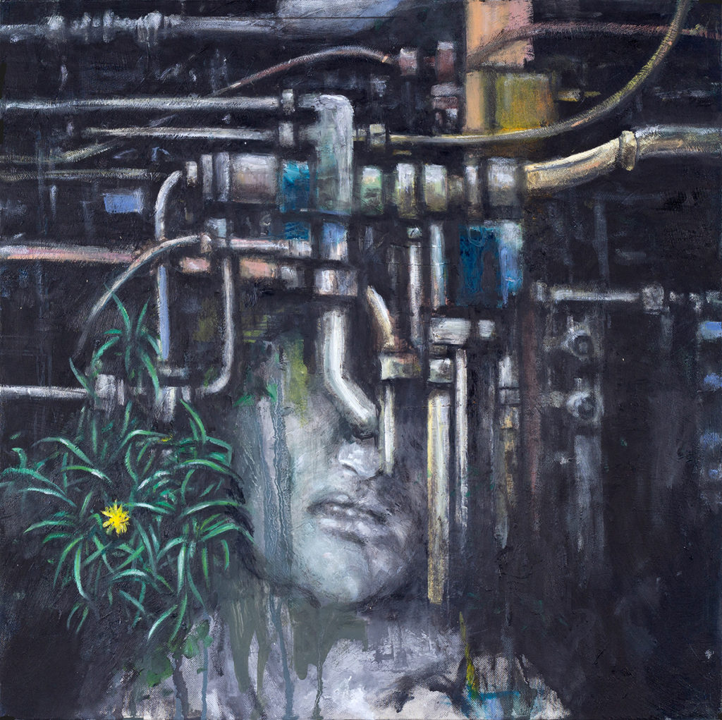 Portrait With Tubes 2 (Worker) – 60 x 50 cm – Oil on canvas – 2019