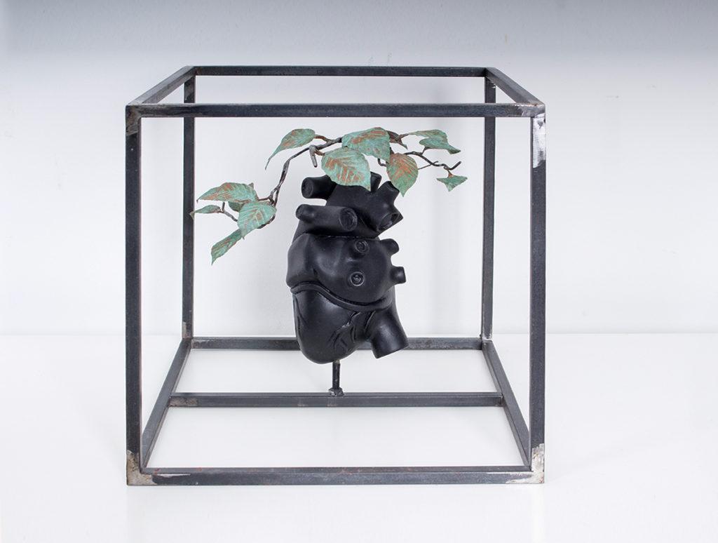 Herz Blaetter – 30 x 30 x 30 cm – Steel, clay, copper, paint – 2013