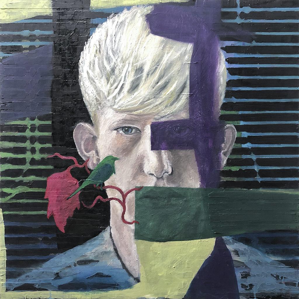 Boy with Bird – 70 x 70 cm – oil on canvas – 2020