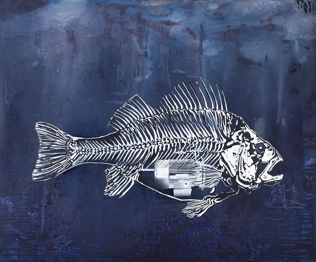 Fisch-Motor – 100 x 120 cm – Oil, acrylic on canvas – 2008