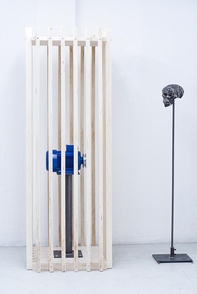 Katalys Sculpture – Wood, Motor, copper, iron – 200 cm x 60 x 100 cm – 2015