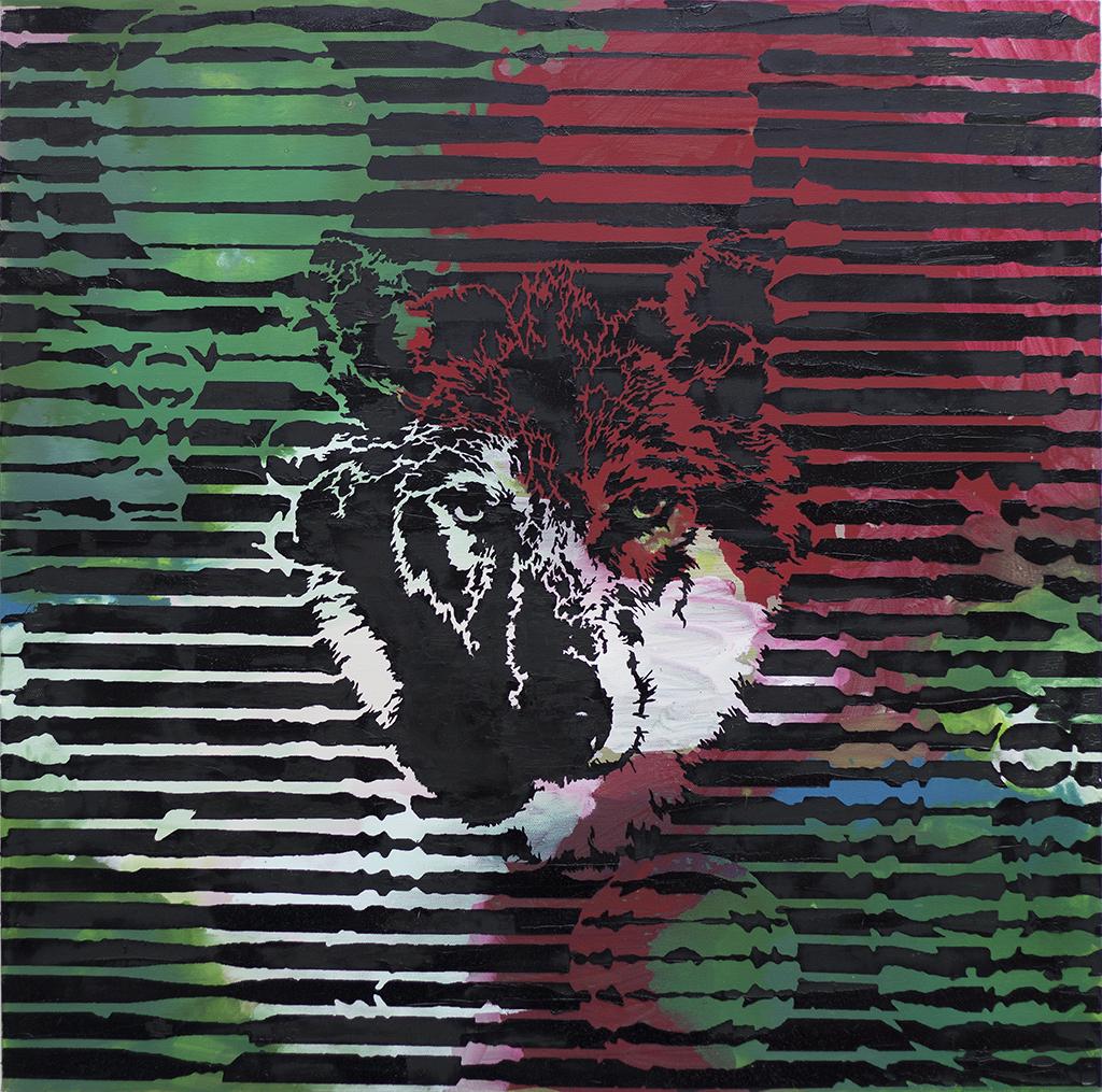 Wolf Rot Gruen – 70 x 70 cm – Oil, acrylic on canvas – 2020